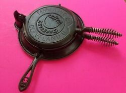 Vintage Antique Crescent Fanner No. 8 Waffle Iron, Low Base, Cleaned And Restored