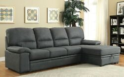 Simple Sectional Sofa Pull Out Bed Storage Chaise Graphite Fabric Living Room