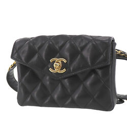Quilted Bum Bag Black Lambskin Leather Vintage Italy Authentic Ae383 O