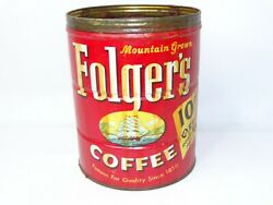 Vtg 1959c Folgers Coffee Tin Can 2lbs Mountain Grown Sail Boat 10 Cents Off Ad