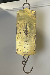 Antique Chatillon's Hanging Scale W/ Brass Plate Face, 30 Lbs, Dial Hand, Hook