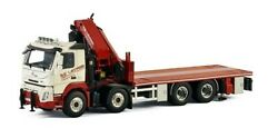 For Volvo Fmx Sleeper Cab 8x4 Riged Flatbed Truck Palfinger 1/50 Diecast Model