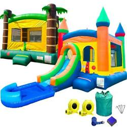 Inflatable Combo Tropical Bounce House And Rainbow Castle Water Slide Pool Blower