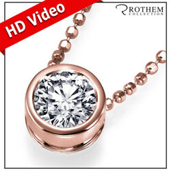 1.04 Carat Diamond Pendant Necklace Solitaire Rose Gold 14k Real I2 24351646