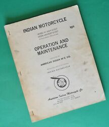 1934-40and039s Indian Motorcycle Scout Service Manual Book 30.50 And 45 Restoration