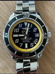 Breitling Super Ocean 42 A17364 Automatic Black Yellow Ss Round Analog Menand039s 021