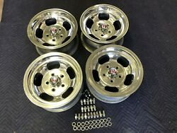 Vintage 14x7 Set 4polished Real Us Indy Mags Nice 5 On 4 3/4 Chevy Hotrod Nice
