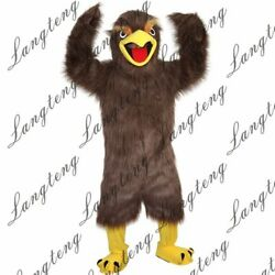 Dark Brown Hairy Eagle Mascot Costume Suits Cosplay Party Game Dress Outfits Ad