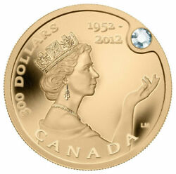 2012 Canada 300 Pure 99.999 Gold Queenand039s Diamond Jubilee With Diamond
