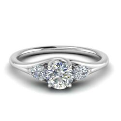 Solid 950 Platinum 0.90 Ct Round Diamond Engagement Women Rings Size Selective