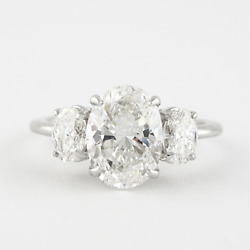 Solid 950 Platinum 1.20 Ct Oval Diamond Anniversary Women Rings Size Selective