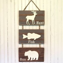 Rustic Deer Fish Bear Wood Plank And Rope Hanging Sign Cabin Lodge Decor