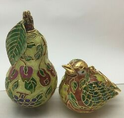 Pair Of Chinese Cloisonne Enameled Figurine Ornaments Bird And Pear