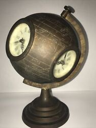Antique Brass World Globe Clock Patina Etched Non-working 12andrdquo Tall
