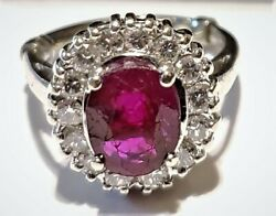 Dand039amelio Family Ring.andnbsp 1930and039s 1.7 Carats Burmese Ruby Diamond White Gold Ring