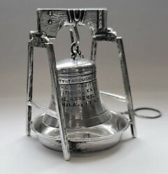 Antique Sterling Silver Figural Novelty Liberty Bell Tea Ball Strainer On Stand