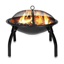 32fire Pit Outdoor Garden Patio Bbq Grill Stove W/cover Fire Fork Round/square