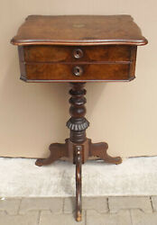 Antique Root/nußbaumholz Sewing Table / Box With Flap / Drawers, Bastlerteil