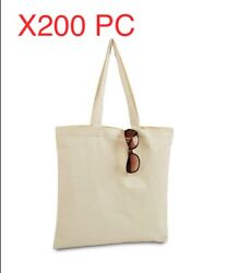 LOT of 200 Canvas bag shopping Tote Bag Beach Totes Reusable Grocery LB8502 $400.00
