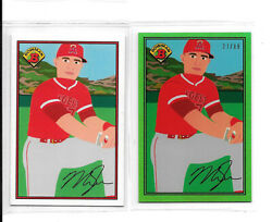 Mike Trout 2021 Topps X Keith Shore 1989 Bowman Green Parallel 27/89 Uniform