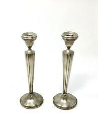 """Stunning Antique Art Deco Estate Sterling Silver Pair Candle Sticks Holders 10""""h"""