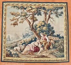 French Aubusson Tapestry Wall Hanging Vintage In Good Clean Condition.