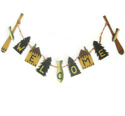 Rustic Fishing Welcome Banner Garland Wood Cabin Lodge 30 Primitive