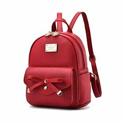 Girls Bowknot Cute Leather Backpack Mini Backpack Purse for Women $33.12
