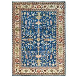 9and0398x13and0398 Navy Blue Wool Heris Revival Hand Knotted Rug G63097