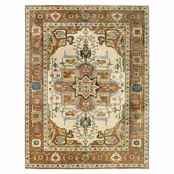 9and039x12and0391 Hand Knotted Heris Revival Ivory Wool Oriental Rug G63089