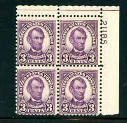 Us Stamp - 1927 3c Abraham Lincoln Plate Block Of 4 Stamps Mnh 635a