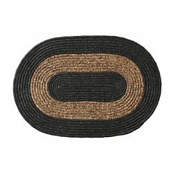 Farmhouse Style Bordered Braided Floor Rug For Inside And Outdoors