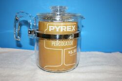 Vintage Pyrex Flameware Percolator With Advertising 7759-b - 6-9 Cups