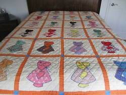 New Vintage Beautiful All Handstitched Sun Bonnet Sue Quilt 76 X 82 Full Queen