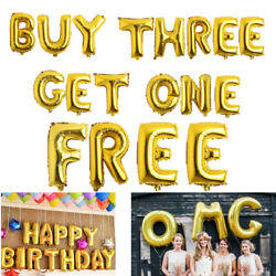 16quot; Foil Balloons Letter Number Gold Helium Birthday Wedding Home Party Decor $0.99