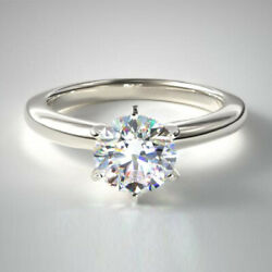0.70 Ct Solitaire Rond Real Diamond Engagement Ring 14k Or Blanc Taille L M N O