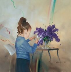 Michael Gorban 1956- Large Oil On Canvas A Girl Playing Signed Flowers