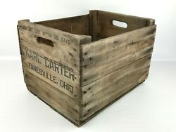 Antique Wooden Fruit Crate Karl Carter Zanesville, Ohio Wood Shipping Crate