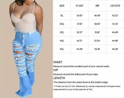 Lightlykiss Womens Ripped Bell Bottom Plus Size Jeans High Waisted Flared Distre