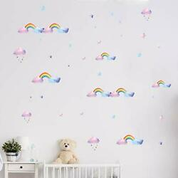 Rainbow Wall Decals for Girls Room Nursery Wall Art Stickers Watercolor