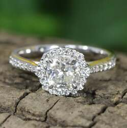 Colorless Cushion Moissanite Halo Ring/ Half Eternity Engagement Ring