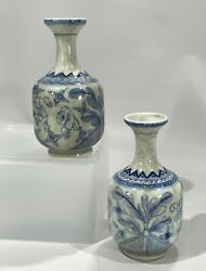 Qing Dynasty Kangxi Period Antique Chinese Blue And White Mallet Vase Pair
