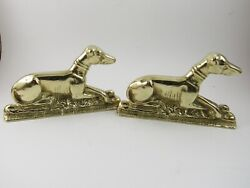 Vintage Solid Brass Greyhound Whippet Dogs Bookends Pair