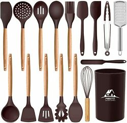 17 Pcs Silicone Cooking Kitchen Utensils Set With Holder Wooden Handles Bpa Fre