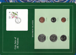 Coin Sets Of All Nations Solomon Islands W/card Unc 1977-1987 5 And 10 Cent Fmu