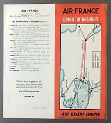 Air France Damascus Baghdad Air Desert Service Airline Timetable 1937 Route Map