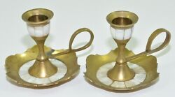 Lot Of 2 Brass And Mother Of Pearl Inlay Antique Chamberstick Candle Holders