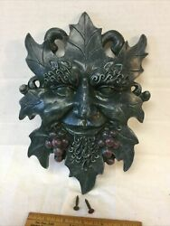 Vintage Bacchus God Of Wine Grapes Wall Plaque Figurine Cast Resin Green Color