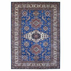 8and03910x12and039 Super Kazak Geometric Design Blue Hand Knotted 100 Wool Rug G67995