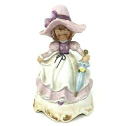 Vintage Lefton Music Box Girl With Umbrella 421 On Off Switch Hand Painted Japan